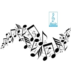Messy scattered music notes on stave vector image