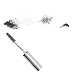 metallic realistic mascara brush with vector image