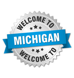 Michigan 3d silver badge with blue ribbon vector