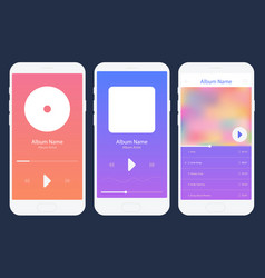 Mobile app music player set different variations vector