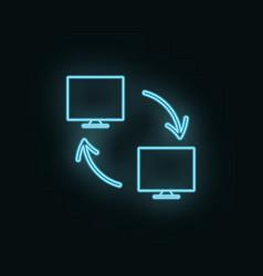 networking monitor neon icon web development icon vector image