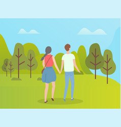 People in green forest man and woman back view vector