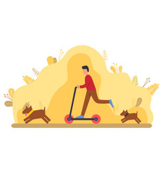 person walking with dog running outdoor vector image