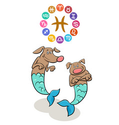 Pisces zodiac sign with cartoon dog vector