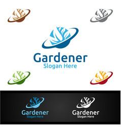 planet gardener logo with green garden vector image
