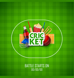 player bat ball and helmet on cricket sports vector image
