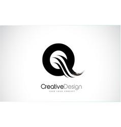 Q letter design brush paint stroke vector