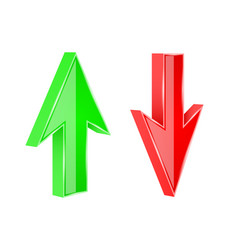 red and green arrows 3d up and down signs vector image