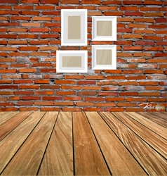 Room interior vintage with red brick wall and wood vector