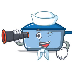 sailor with binocular kitchen character cartoon vector image
