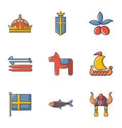 Scandinavian items icons set cartoon style vector