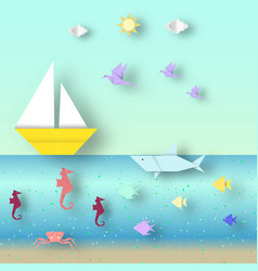 Scenery with cut fishes and ships vector