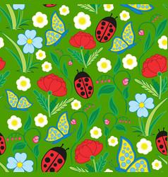 seamless flora fauna pattern vector image