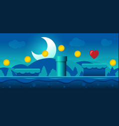 seamless gaming background landscape night vector image