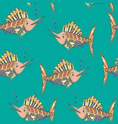 seamless pattern marlin fish vector image