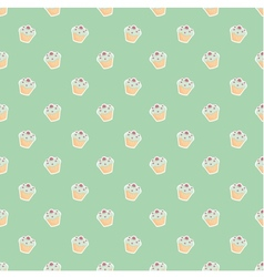 Seamless pattern or backgroun with little cupcakes vector image
