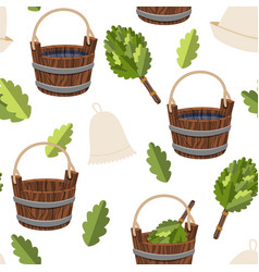 seamless pattern public baths wood bucket spa vector image