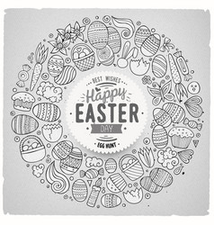 Set easter cartoon doodle objects vector