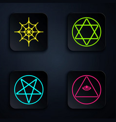 Set masons spider web pentagram in a circle and vector