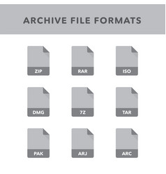 Set of archive file formats and labels in flat vector