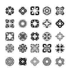 set of tribal black and white decorative patterns vector image