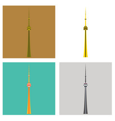 set of tv cn tower in toronto famous world vector image