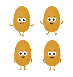 Set with cartoon potatoes vector
