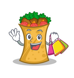 Shopping kebab wrap character cartoon vector