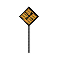 sign traffic road with tool construction vector image vector image