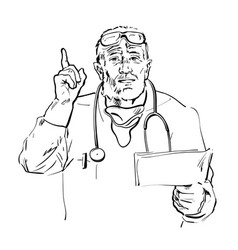 Sketch senior doctor holding papers talking vector