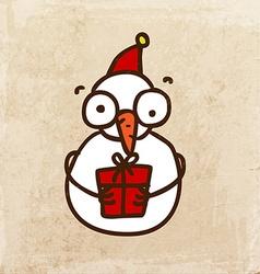 snowman with present cartoon vector image