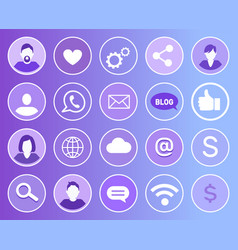 social network set of icons vector image