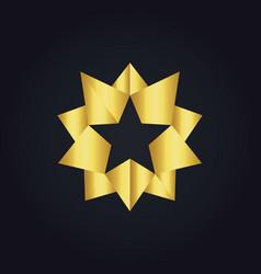 Star 3d gold abstract logo vector