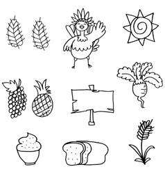 Stoock of thanksgiving set doodles vector
