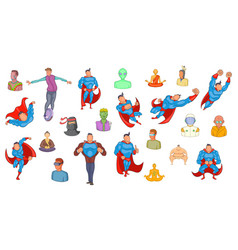 Super heroes icon set cartoon style vector