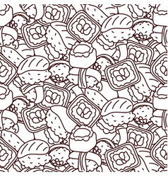 sushi coloring page seamless pattern vector image