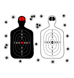 Target for shooting human silhouette set bullet vector