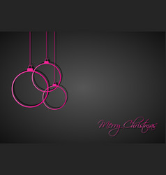 three pink christmas balls on black background vector image