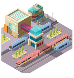 train station building isometric vector image