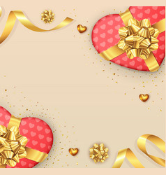 valentines day background with bow and ribbon vector image