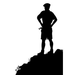 Viewpoint hiker silhouette vector