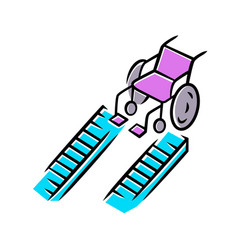 Wheelchair ramp color icon device for physically vector