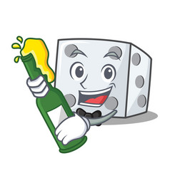 With beer dice character cartoon style vector