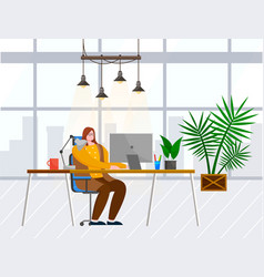 woman work on computer at office interior room vector image
