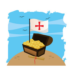 wooden chest with flag cross and gold coins vector image
