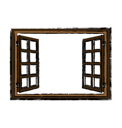 Wooden window open glass frame vector