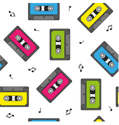 colorful retro cassettes seamless pattern with vector image vector image