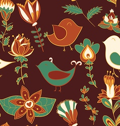 flower and bird Seamless texture vector image vector image