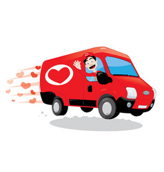 funny courier delivering a truck of love vector image
