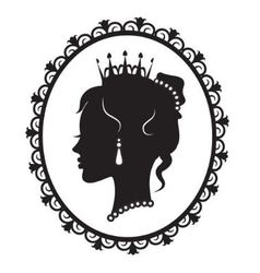 princess silhouette in the frame vector image